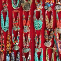 Beads and pendants hanging in a store in Kathmandu