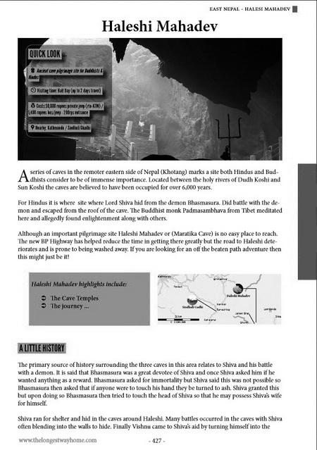 Nepal print guidebook sample pages Haleshi Mahadev