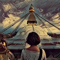 Painting of a girl in front of Boudha Stupa in Nepal