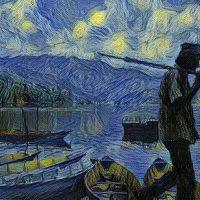 Watercolor of a boat man in Pokhara Nepal