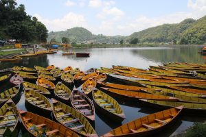 Boats on Begnas Lake Pokhara