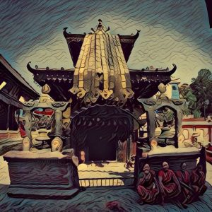 Painting of the Siddhi Laxmi temple in Thimi, Nepal