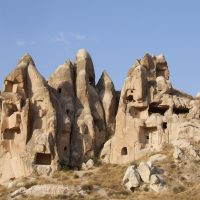 Rock formation and cave houses in Cappadocia Turkey