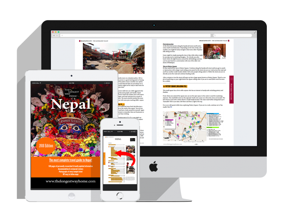 Nepal guidebook displayed on laptop, iPad tablet and mobile