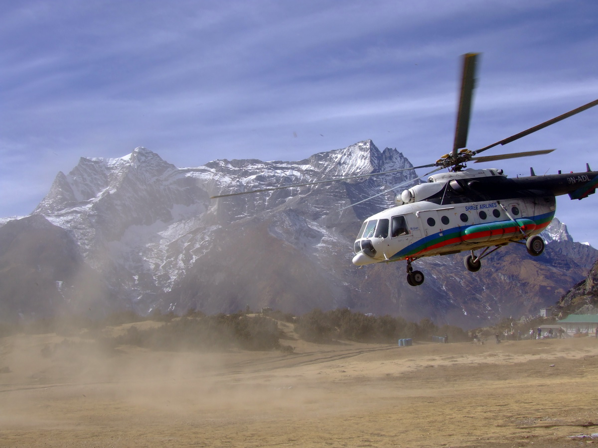 Helicopter taking off in Nepal