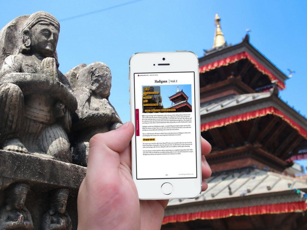 Kathmandu Valley Heritage Walks on mobile phone
