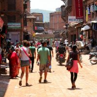 Tourists in Bhaktapur, Nepal