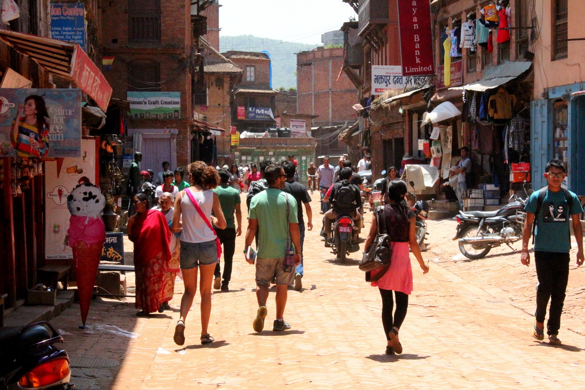 Tourists in Bhaktapur, Nepal