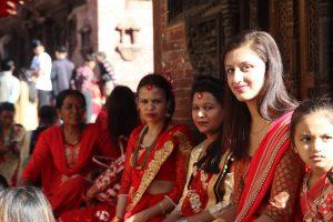 Women in red Saris in Teej in Nepal