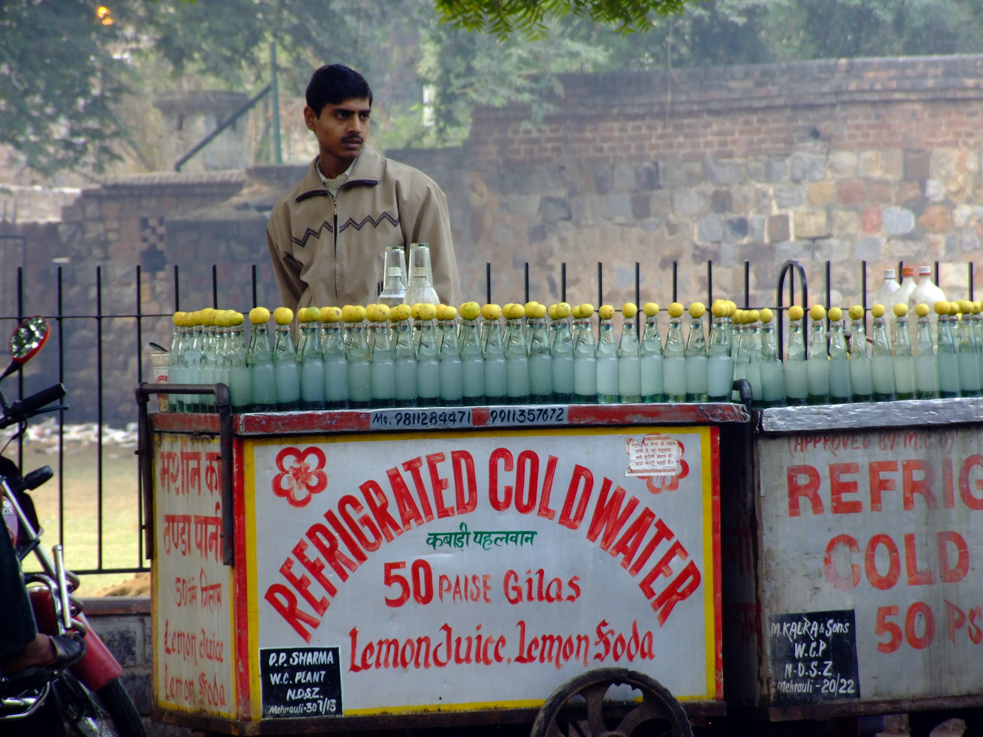 Man selling cold water in India