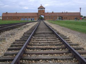 The gatehouse in Auschwitz concentration camp
