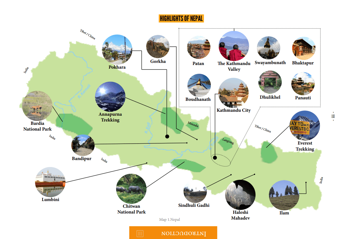 Map of Nepal's Attractions