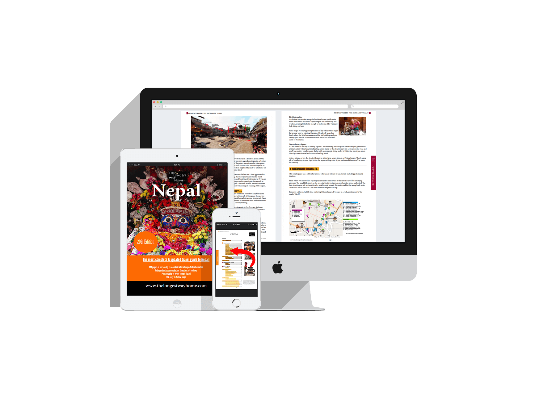 Nepal guidebook shown on a large monitor, tablet and mobile screens