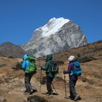Three trekkers in Nepal