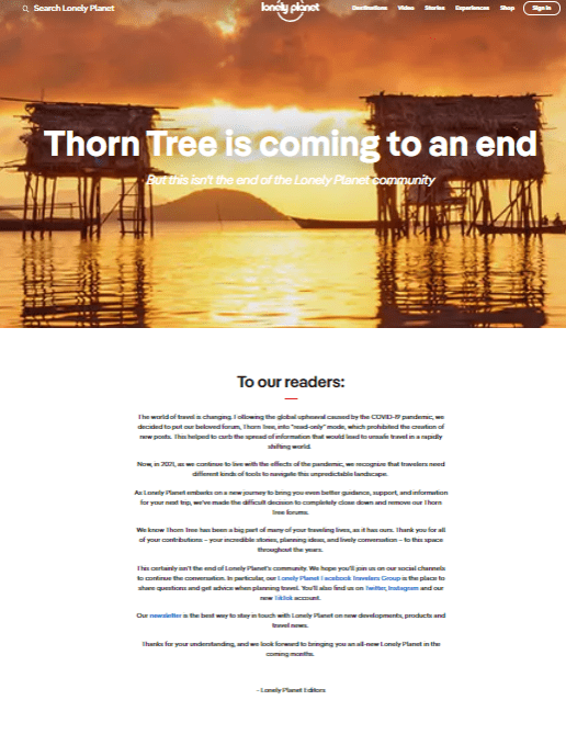 Thorn Tree Closed Page