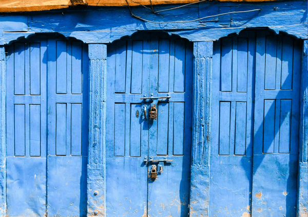 Closed blue doors in Kathmandu