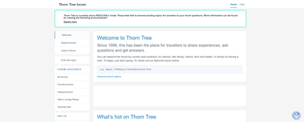 The last read only version of the Thorn Tree in September 2021