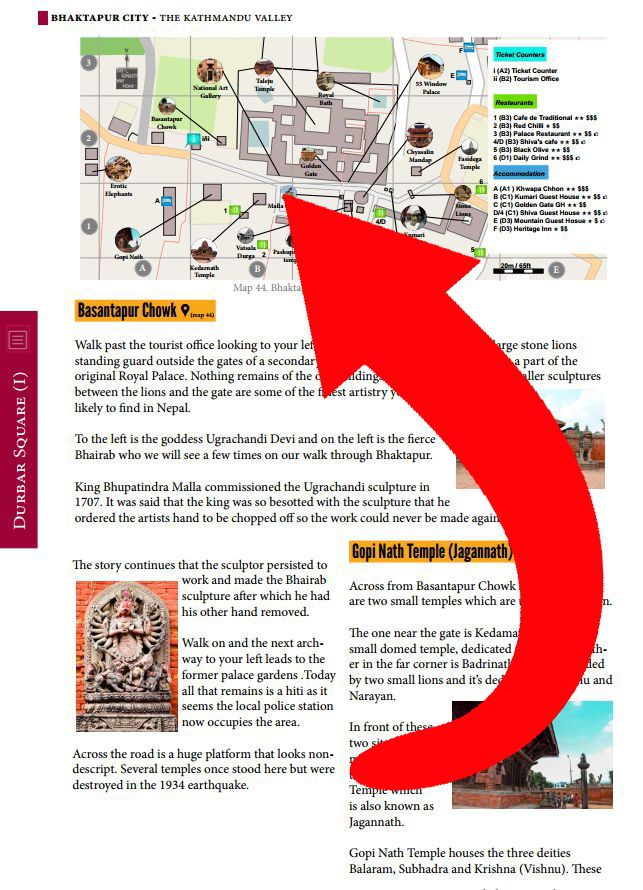 Map of Bhaktapur Durbar Square from Nepal Guidebook sample