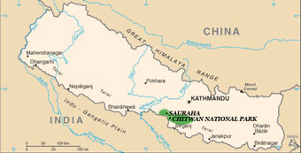 Map of Nepal showing where Chitwan National Park is located
