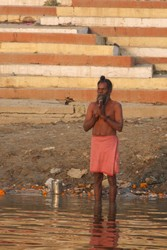 praying on the ganges