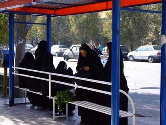 Iranian Women at bus stop