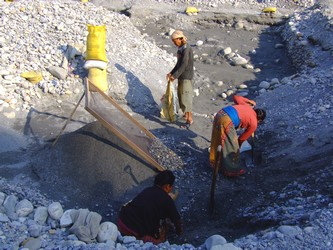 Miners in Nepal working on the river Sai
