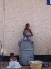 Girls on oil drum in Nigeria