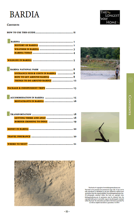 full table of contents for the Bardia guidebook