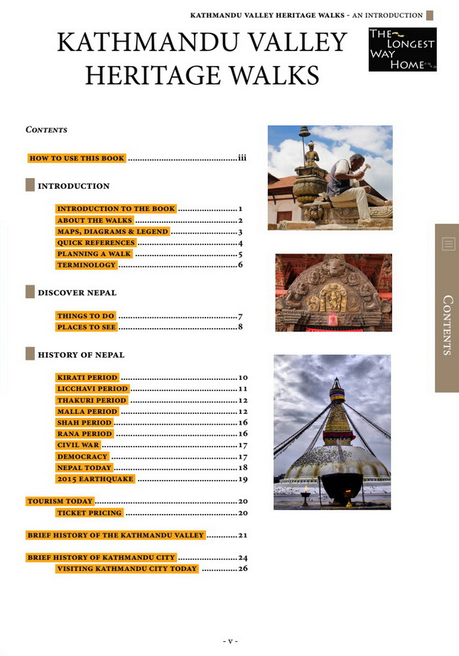 Table of contents from Kathmandu Valley Heritage Walks book