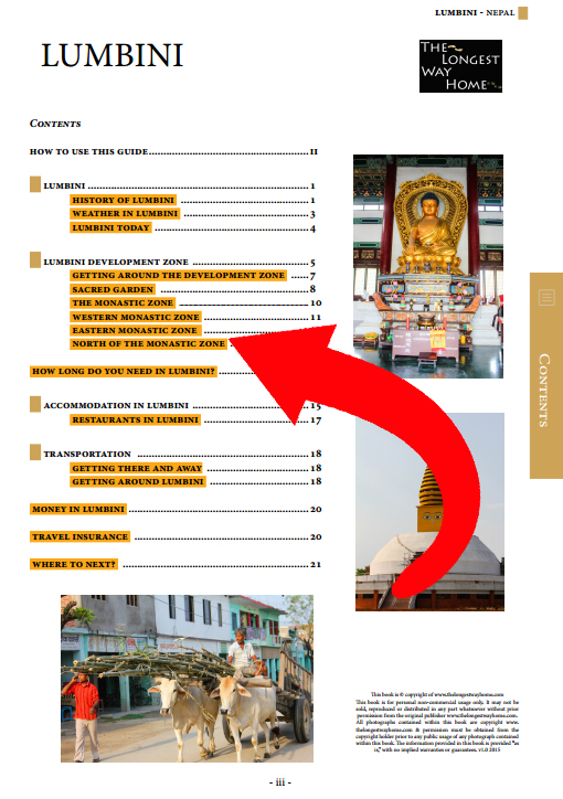 full table of contents for the Lumbini guidebook