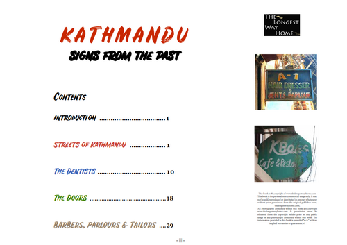 Table of contents from Kathmandu: Signs From The Past