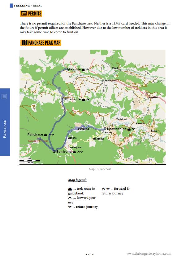 Map of the Panchase Trek