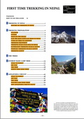 full table of contents for the Trekking in Nepal guidebook