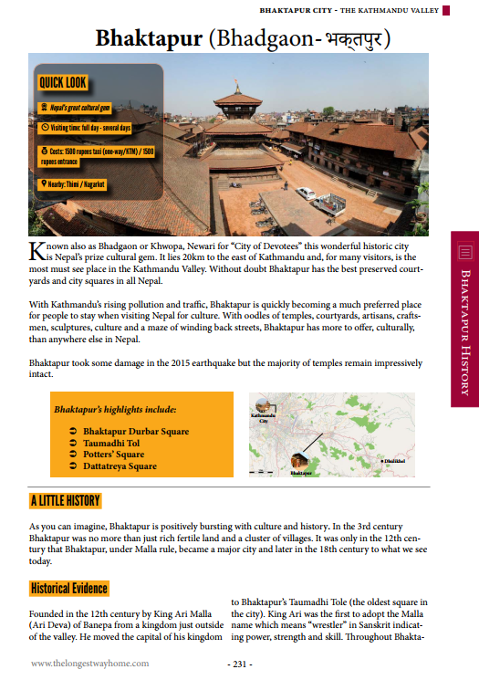 Bhaktapur page from Nepal Guidebook