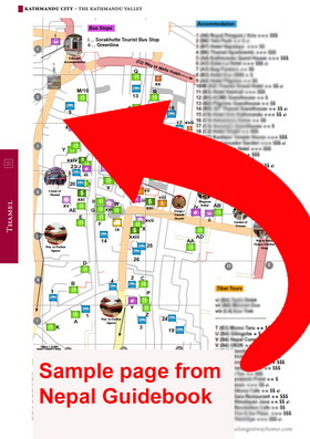Sample map of Thamel from Nepal Guidebook