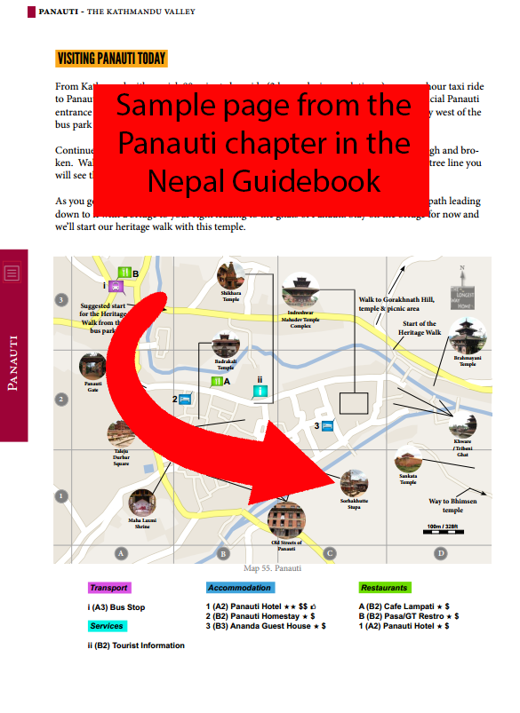 Sample page of Panauti from Nepal guidebook
