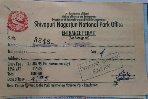 A Shivapuri National Park Permit