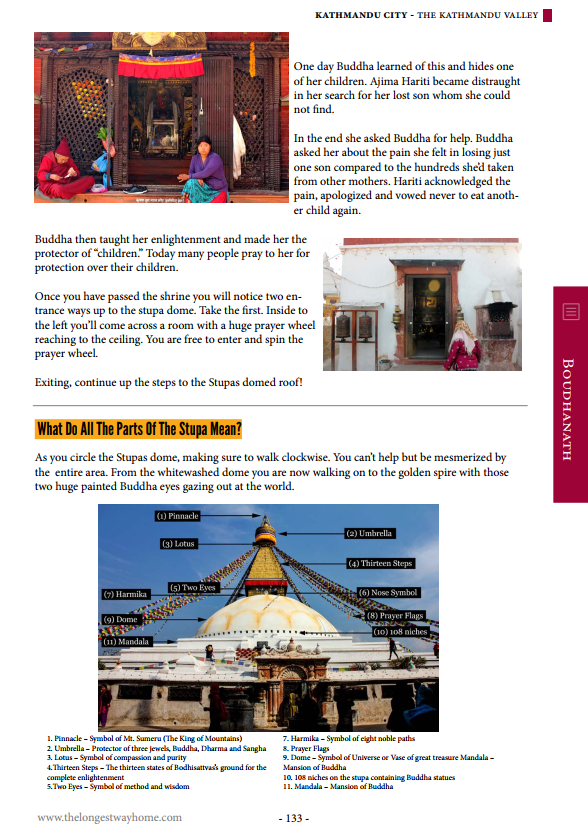 Boudha page from guidebook