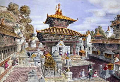 Pashupatinath temple painting by Henry Ambrose Oldfield 1853