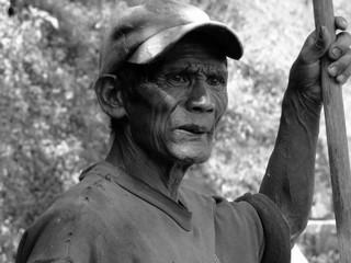 Genuine Ifugao rice terrace worker in Banaue the Philippines