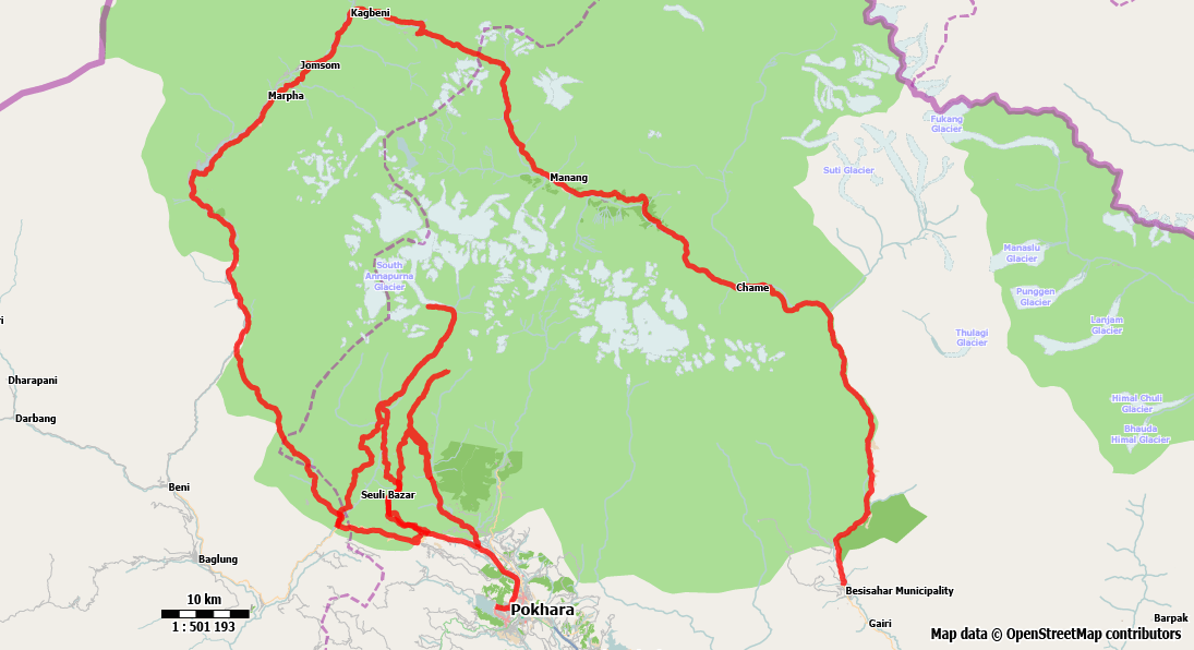 Map of the extended Annapurna Circuit Trek
